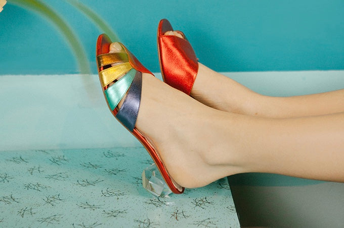 St.Tropez Rainbow Metallic Diamond Heel Mule