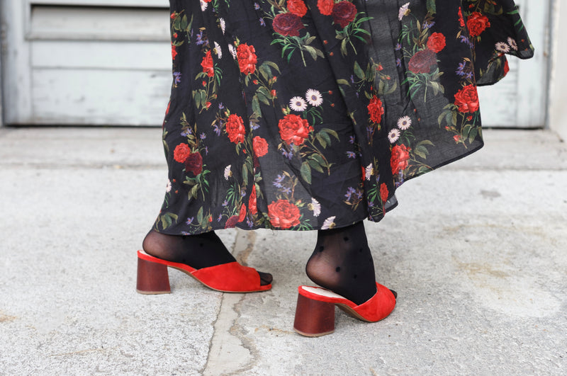 Mia Red Mule with Wood Block Heel - LAST PAIRS
