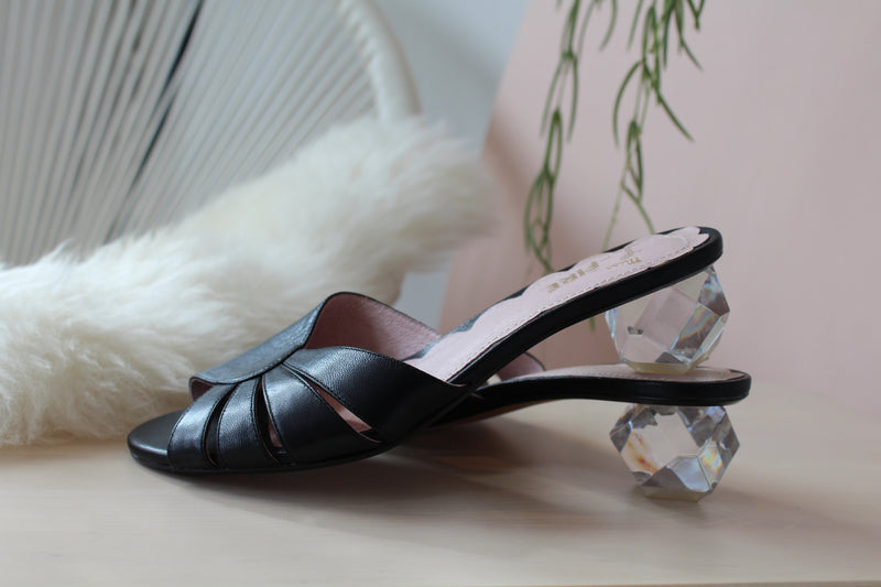 St.Tropez Black Diamond Heel Mule