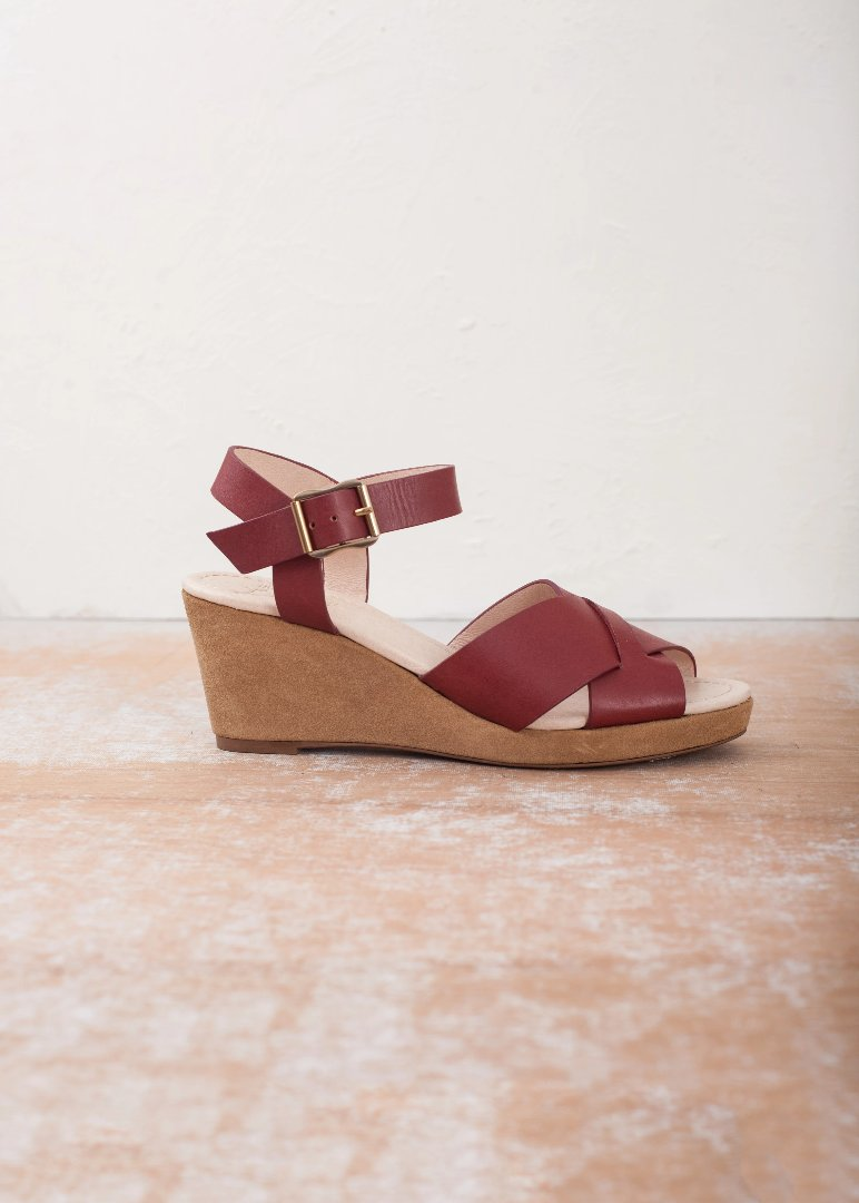 Brick tan leather wedge summer sandals by Miss L Fire