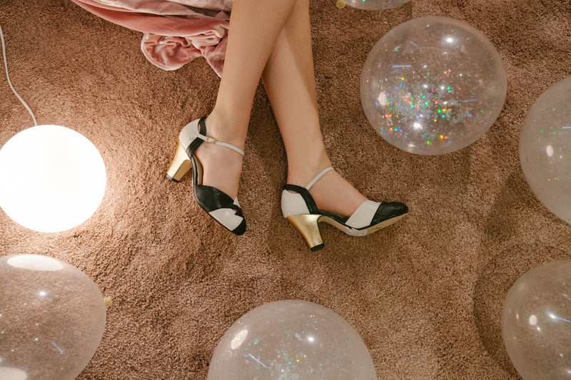 Grace Black, White and Gold Heels