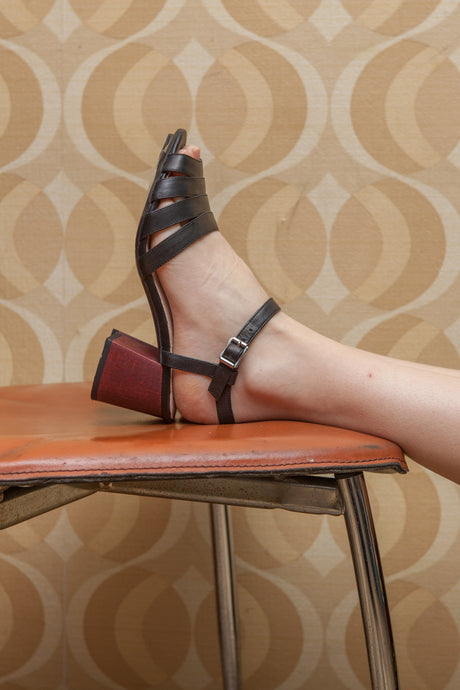 Harper multi strap sandal in black leather with wood block heel by Designer Miss L Fire.