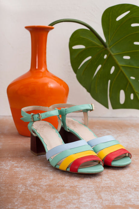 Harper multi coloured scrappy sandal on wood block heel by Miss L Fire. Made in Portugal.