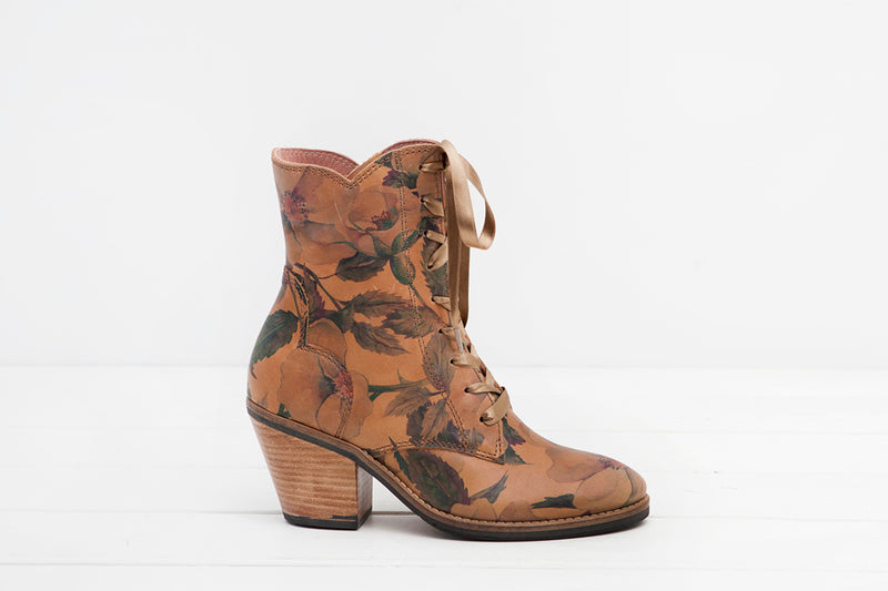 Kate Floral Print Leather lace up ankle boot