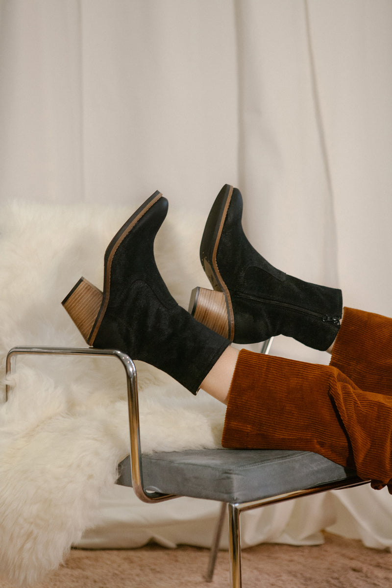 Jane black burnished suede ankle boots with a hint of sparkle. Stacked leather heel. Made in Portugal by Miss L Fire.