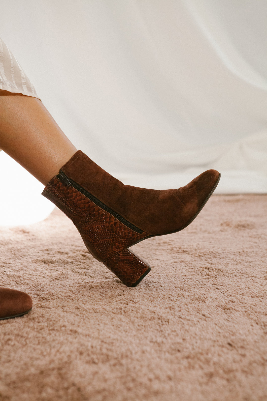 Jean side zip ankle boot - Brown suede and printed snake.