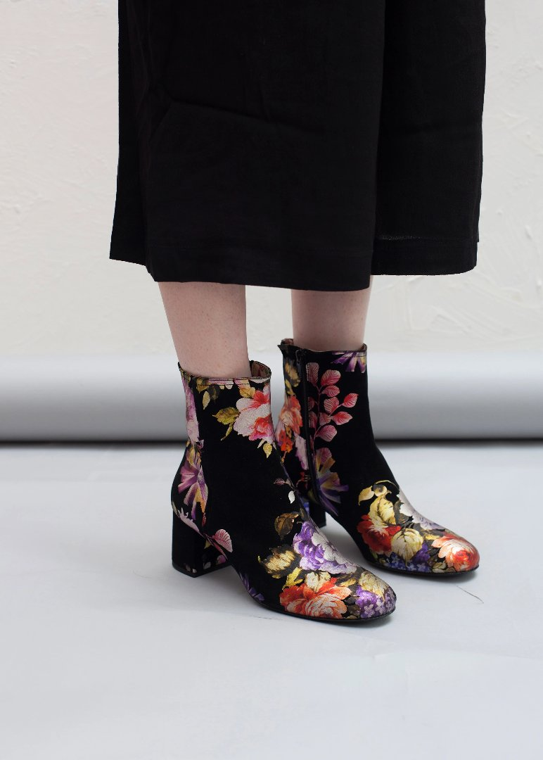 Jean side zip ankle boots in gorgeous floral print suede by Designer Miss L Fire. Made in Italy.