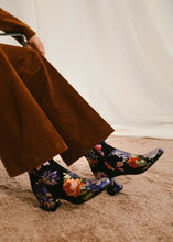 Jean side zip ankle boot, Black Floral suede.