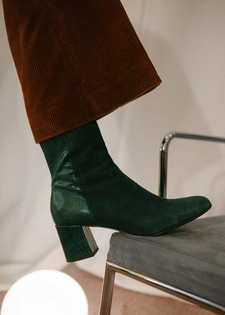 Jean block heel ankle boots in green suede and embossed lizard leather. Made in Italy by Miss L Fire