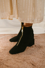 June black suede ankle boot with geometric block heel and centre zip by Miss L Fire