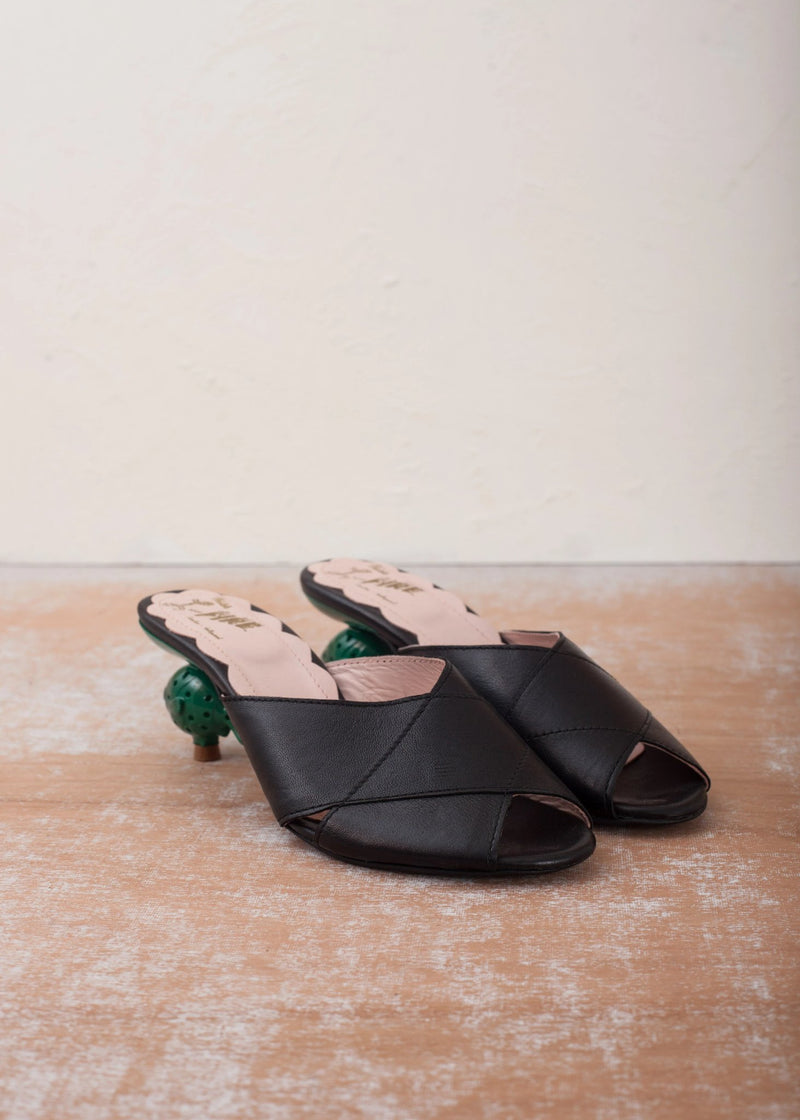 Lola Black Leather Goldfish Heel Mule