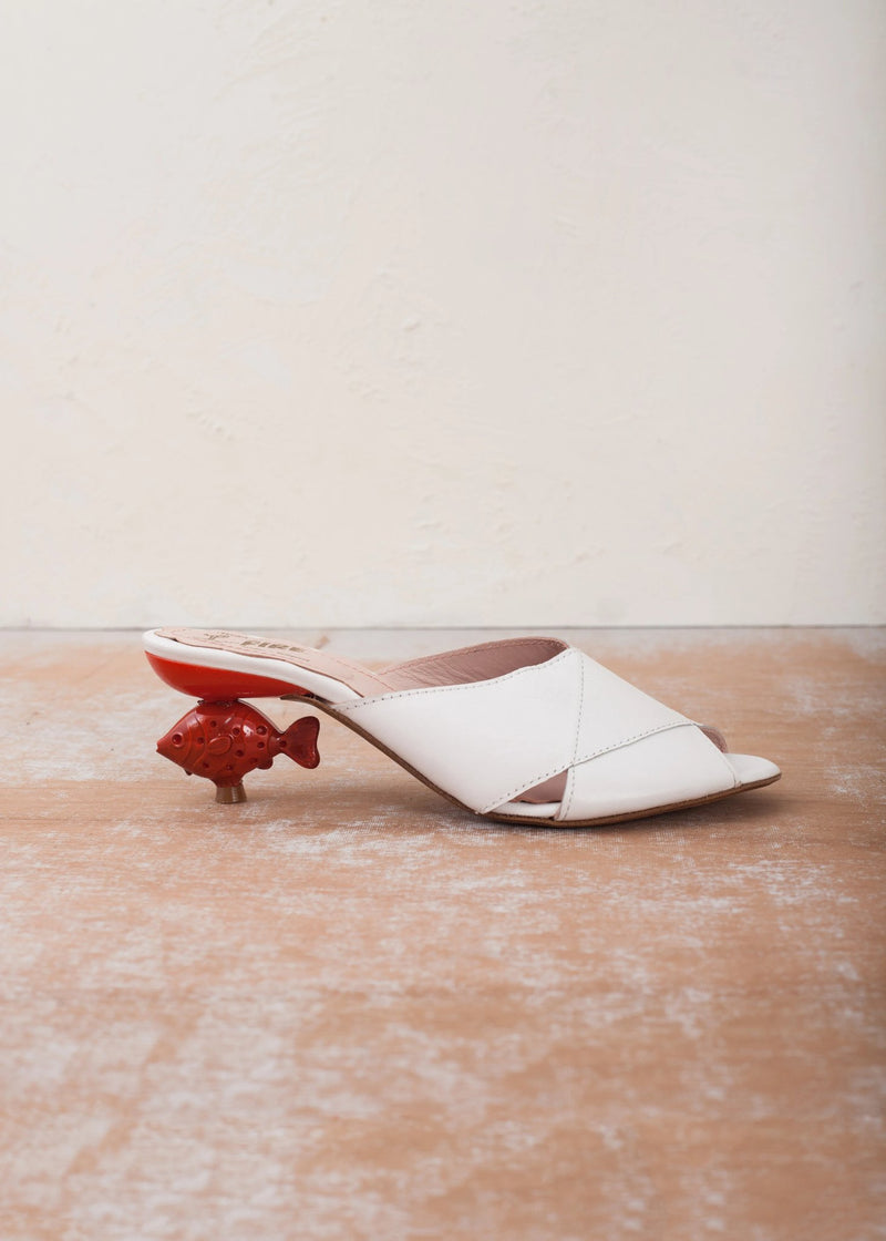 Lola White Leather Goldfish Heel Mule