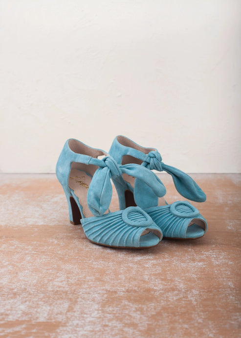 Loretta turquoise blue suede peep toe sandals by Designer Miss L Fire