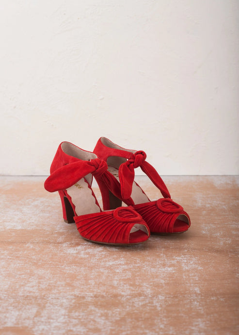 Loretta red suede heels with peep toe. Vintage inspired style by Designer Miss L Fire
