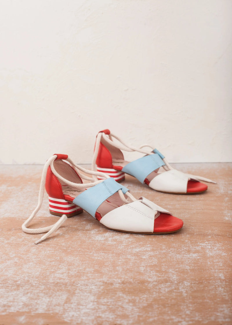 Mable Red White and Blue Striped Heel Lace Up Sandal