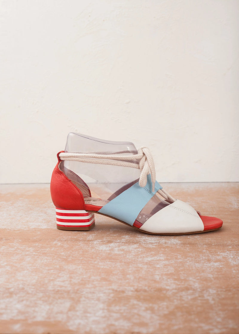 Mable Red White and Blue Striped Heel Lace Up Sandal - LAST PAIRS