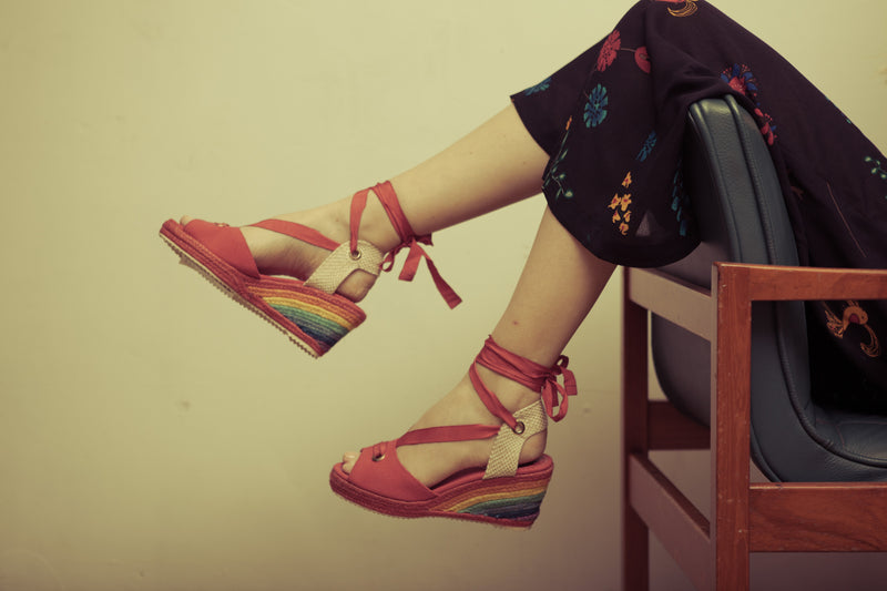 Martha Red and Rainbow Espadrille Wedge