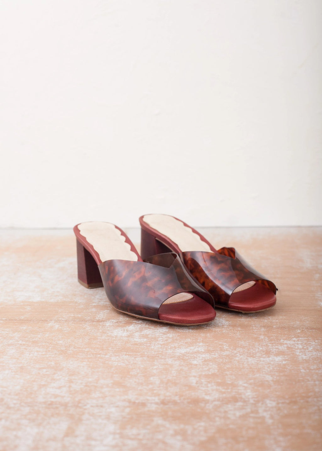 Mia Tortoiseshell Vinyl Mule with Wood Block Heel