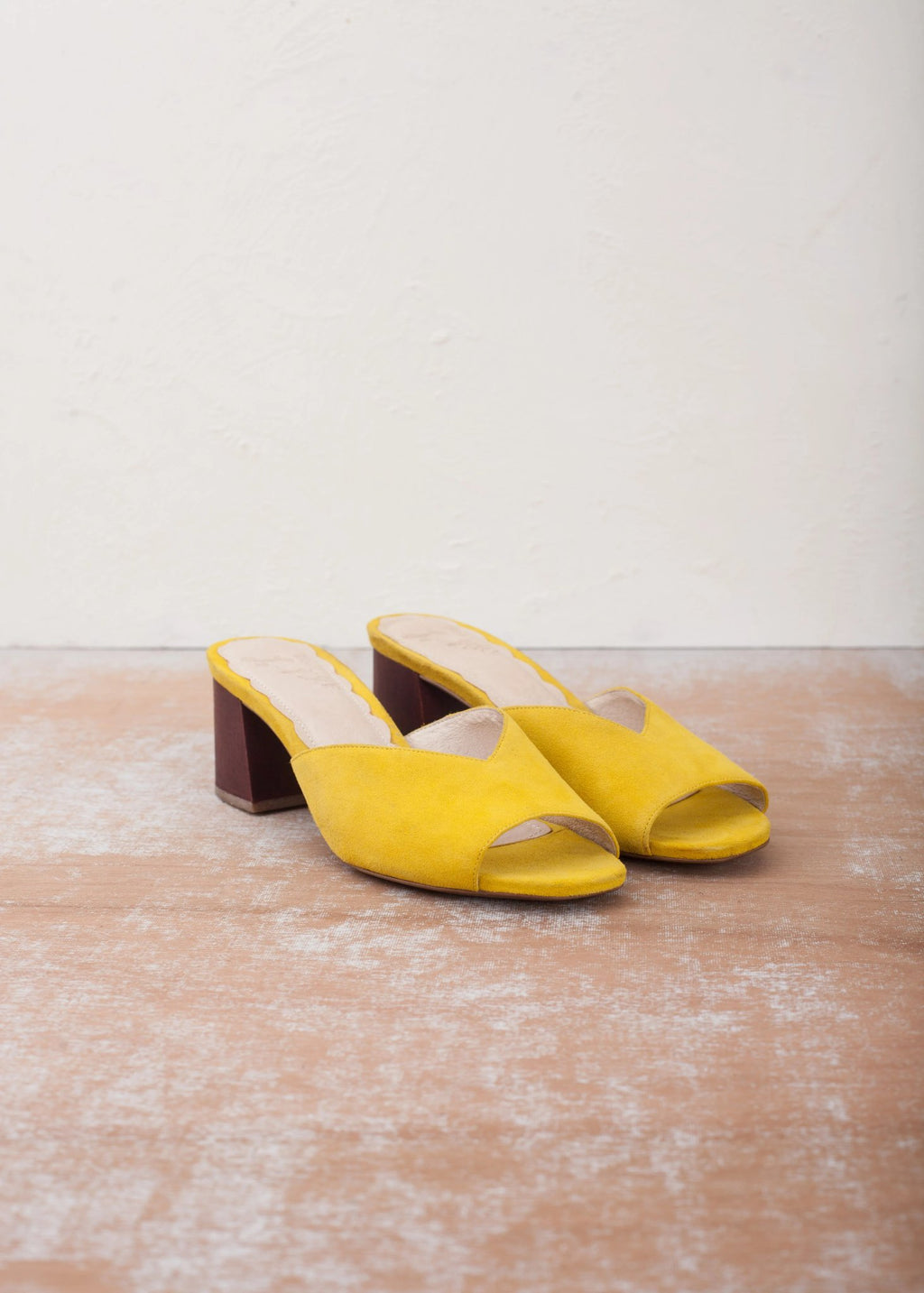 Mia Yellow Mule with Wood Block Heel