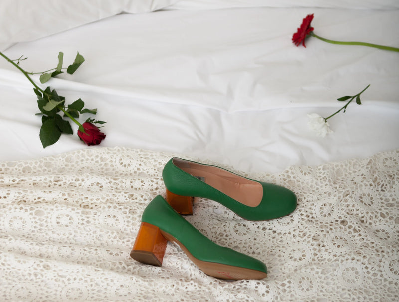 Moneypenny Green Court Shoe with Amber See-Thru Heel.