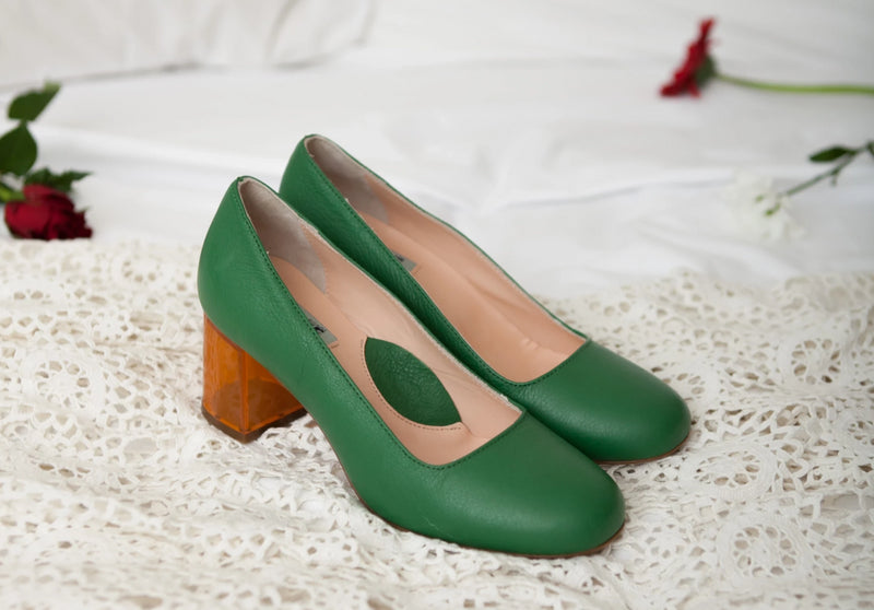 Moneypenny green leather court shoes with amber lucite heel. Made in Italy by Miss L Fire