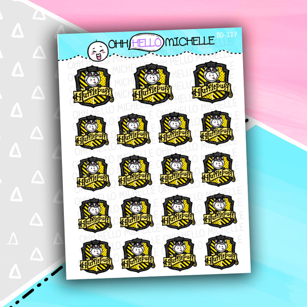 Badger Wizard Crest BD-227 | 19 Hand-drawn Planner Stickers