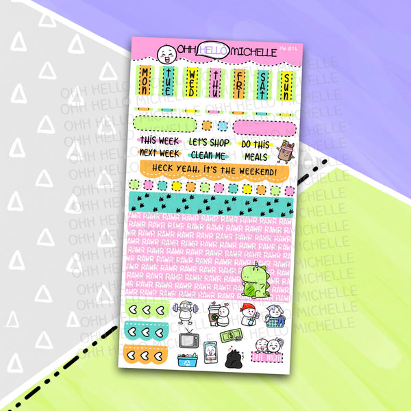 Rexicorn HW-014 | Hobonichi Weeks | 1 Sheet Of Planner Stickers