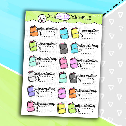 Planner Subscription FN-134 | 18 Hand Drawn Planner Stickers