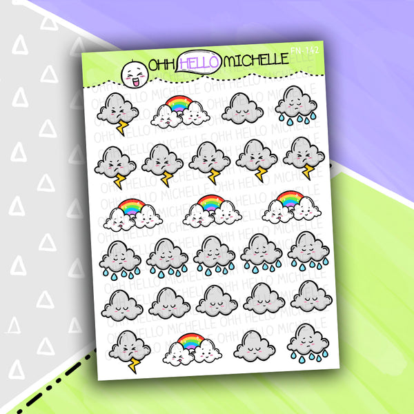 Rainy Weather Doodles FN-142 | 26 Hand Drawn Planner Stickers