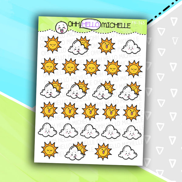 Summer Weather Doodles FN-143 | 27 Hand Drawn Planner Stickers