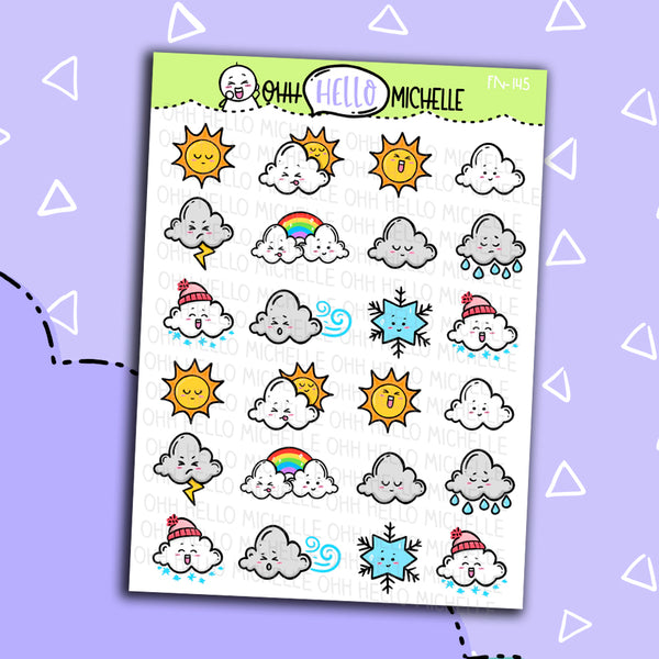 Weather Doodles Sampler FN-145 | 24 Hand Drawn Planner Stickers