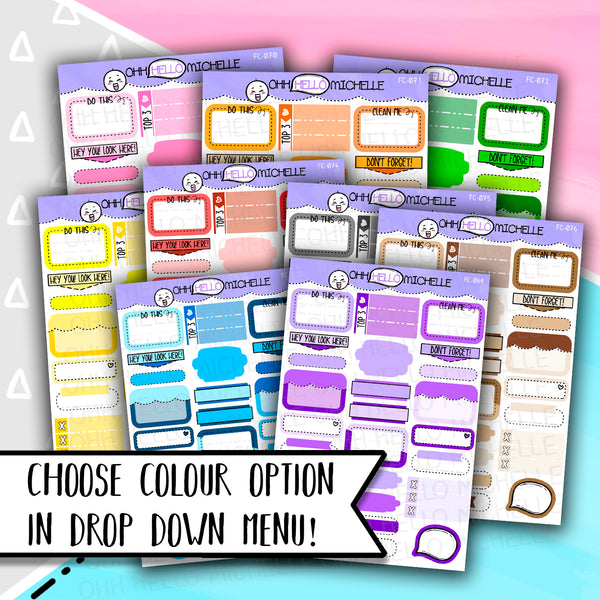 Functional Box Sampler | 25 Hand Drawn Planner Stickers | PICK YOUR COLOUR