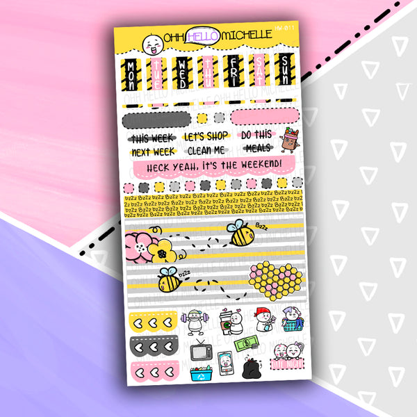 BuzZz Off HW-011 | Hobonichi Weeks | 1 Sheet Of Planner Stickers