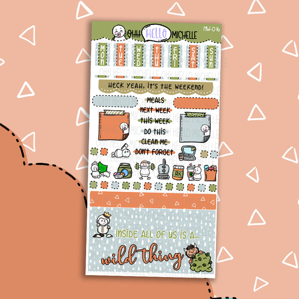 Wild Thing HW-016 | Hobonichi Weeks | 1 Sheet Of Planner Stickers