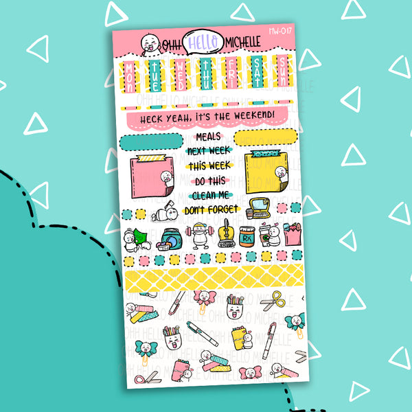 Let's Get Crafty HW-017 | Hobonichi Weeks | 1 Sheet Of Planner Stickers