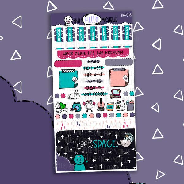 I need SPACE.. HW-018 | Hobonichi Weeks | 1 Sheet Of Planner Stickers