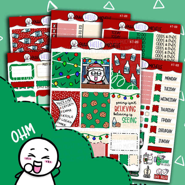 Waiting On Santa KT-031 | Sized for Erin Condren | Hand Drawn Planner Stickers