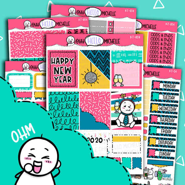 POP The Champagne KT-034 | Sized for Erin Condren | Hand Drawn Planner Stickers