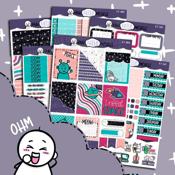 I need SPACE.. KT-047 | Sized for Erin Condren | Hand Drawn Planner Stickers