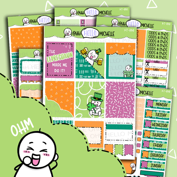Lucky Leprachaun KT-050| Sized for Erin Condren | Hand Drawn Planner Stickers