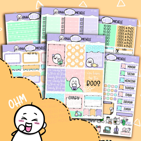 Here For The Boos KT-052 | Sized for Erin Condren | Hand Drawn Planner Stickers