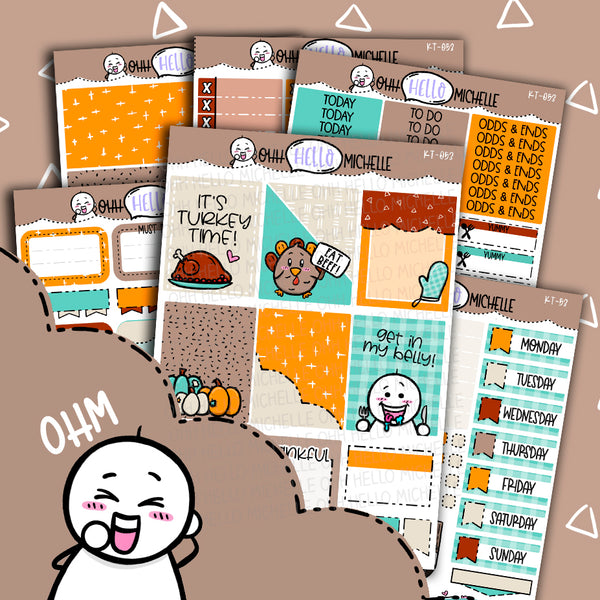 Turkey Time! KT-053 | Sized for Erin Condren | Hand Drawn Planner Stickers