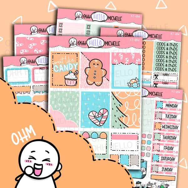 Sweet Like Candy KT-054 | Sized for Erin Condren | Hand Drawn Planner Stickers