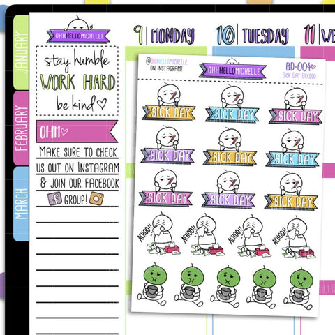 Sick Day Beedoo BD-004 | 18 Hand Drawn Planner Stickers
