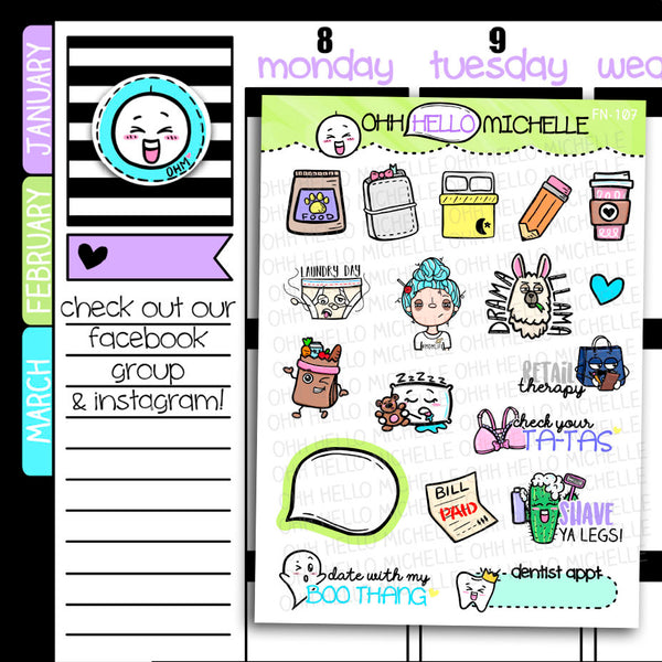 FN-107 Doodles Sampler 2.0 | 18 Hand-drawn Planner Stickers
