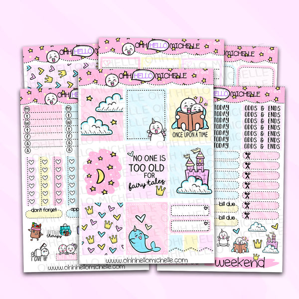 Once Upon A Time FULL Weekly Kit KT-043  | 6 Half Sheets Of Planner Stickers