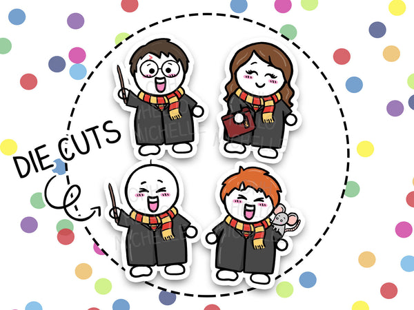 Team Lion - Magical Wizards | DCP-017 | 4 Hand Drawn Cardstock Die Cuts