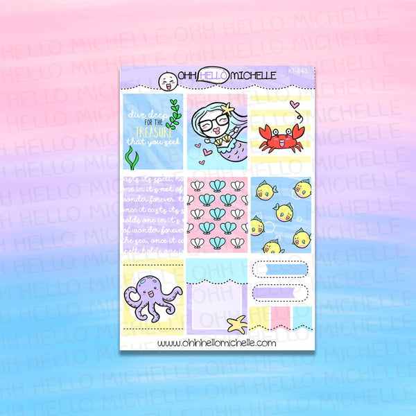 Ocean's Treasures Full Boxes KT-044 | Planner Stickers Sized for the ECLP