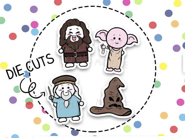 Magical Wizard Characters | DCP-018 | 4 Hand Drawn Cardstock Die Cuts