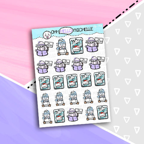 Too DAMN COLD! BD-198 | 24 Hand Drawn Planner Stickers